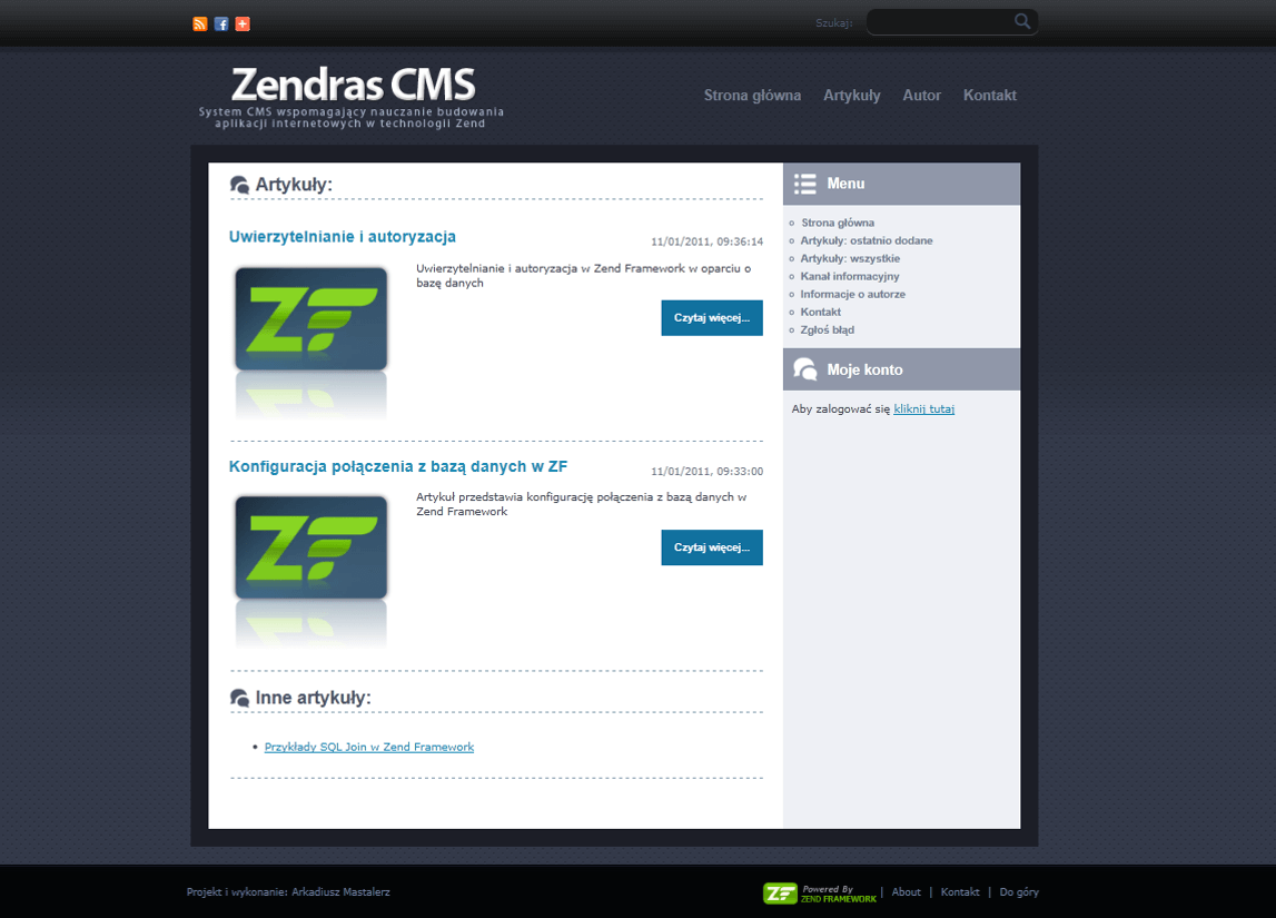 2011-02 CMS system based on Zend Framework created by me – zendras.com