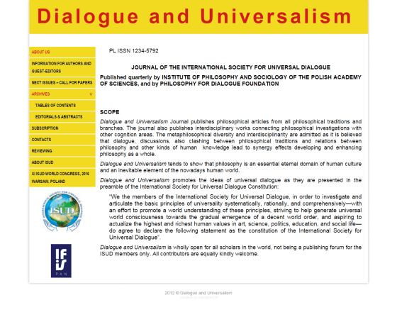 2012-10 Website for Journal of the International Society for Universal Dialogue – dialogueanduniversalism.eu