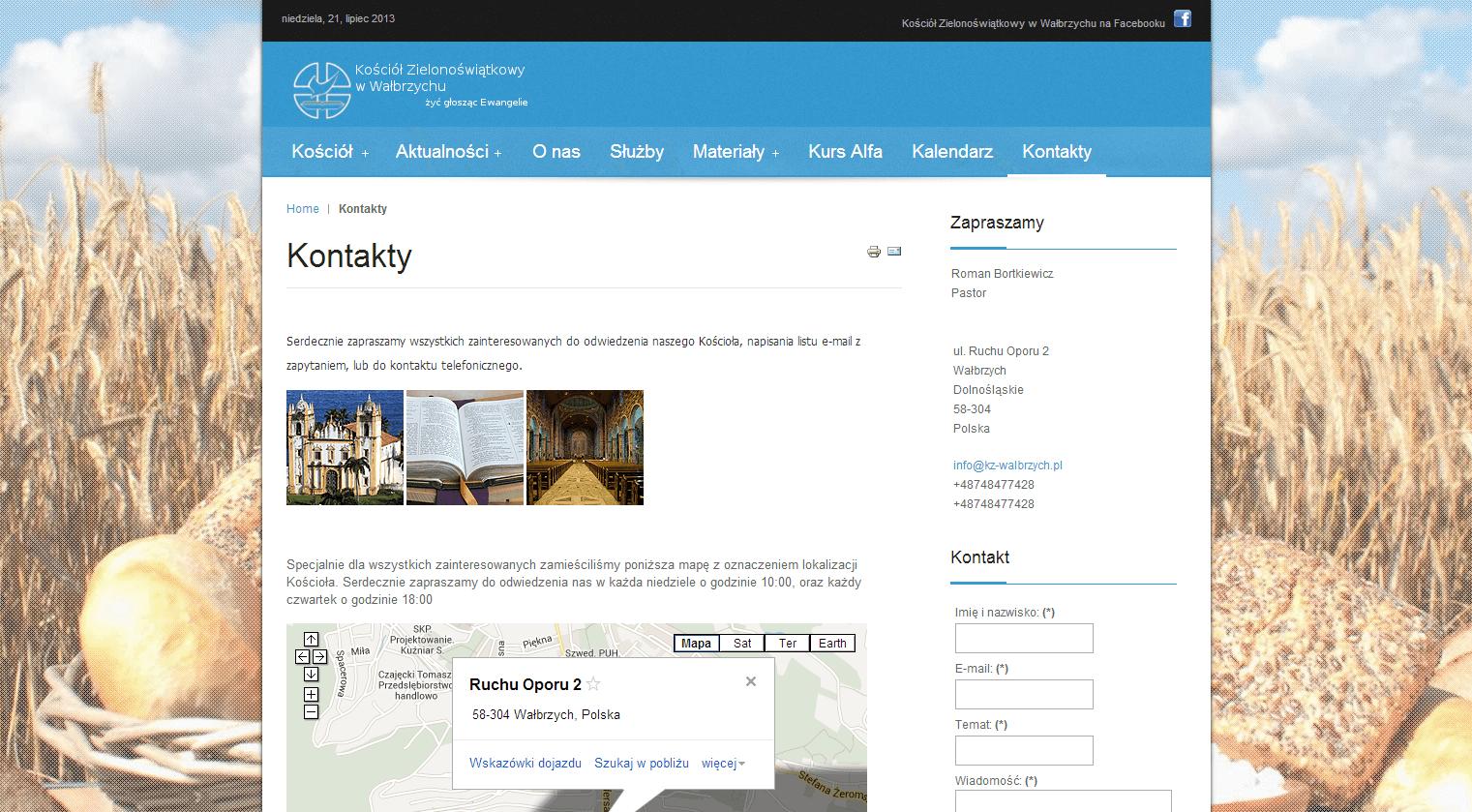 2013-04 – Homepage for the Church – kz-walbrzych.pl