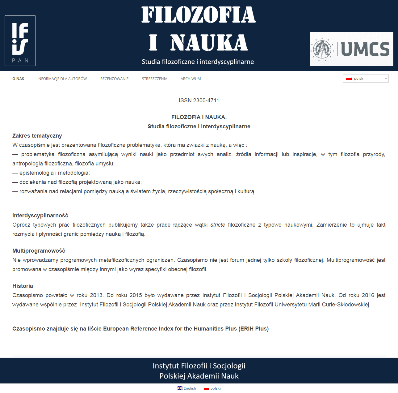 2013-04 Homepage for Institute of Philosophy and Sociology of the Polish Academy of Sciences Journal – filozofiainauka.ifispan.waw.pl
